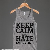 Keep Calm & Hate Everyone-Unisex Athletic Grey Tank