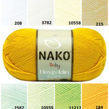 NAKO baby yarn, white yellow green pattern yarn, cotton yarn, crochet yarn, knitting supplies, bamboo yarn, knitting yarn, baby yarn, yarn