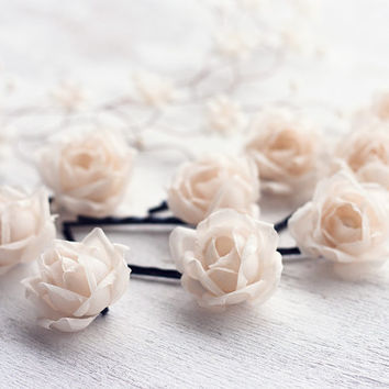 Silk roses, Champagne silk roses, Champagne wedding, Silk rose clips, Hair piece, Bobby pins roses silk, Floral hair pins, Silk roses hair.