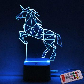 3D Visual Colorful Yacht Remote Control Horse LED Night Light