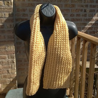 Ready to Ship - Mens Scarf - Womens Scarf - Knit Scarf in Soft Yellow