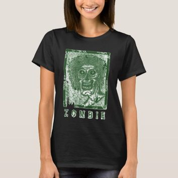 Zombie-Green White Distressed T-Shirt