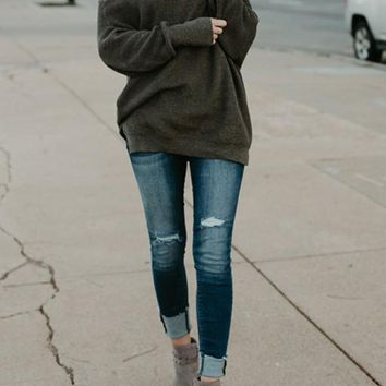 Grey Green Cut Out Off Shoulder Slouchy Long Sleeve Pullover Sweater