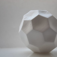 Concave honeycomb white vase made from stoneware fine bone china - hexagonal polyhedron - geometric decor