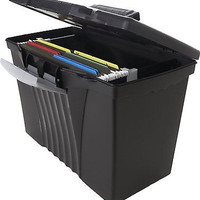 Storex Portable File Box, Legal/Letter Size, Black Office Home Storage Organizer