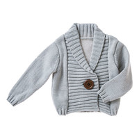 Light Gray One-Button Knit Cardigan - Infant