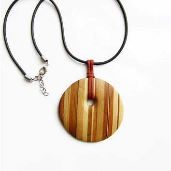 Wooden necklace, cherry wood necklace, cherry wood pendant, necklace wood, ash wood necklace, christmas, sale