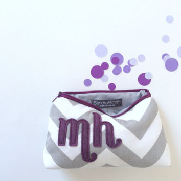 Double Letter Personalized Cosmetic Bag, Grey Chevron & Purple Monogram Bridesmaid Clutch, Fall Wedding Favor, Custom Makeup Gift Case