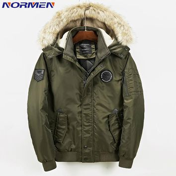 NORMEN Mens Fashion Solid Hooded Parkas (-15) Fur Collar Winter Jacket Men Cotton Padded Man Over Coat Jaqueta Masculina Inverno