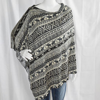 Ethnic Tribal Poncho/ Nursing, Breastfeeding Cover/ Lightweight Shawl/ Off the Shoulder Elephant Boho Top/ New Mom Gift