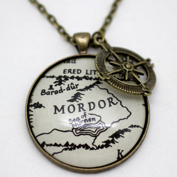 Lord of the Rings Map 'Mordor' Necklace by PrettyLittleCharmsUK