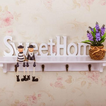 Wooden Letters Hollow Storage White Wall Hook Key Holder Wood Storage Holders Shelf Home Decoration 4 Hooks Diy 47*9*16.5 Cm