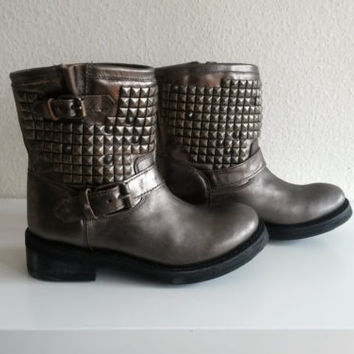 Ash TITAN piombo (dark silver) studded leather ankle boots, size UK 5.5 (38)