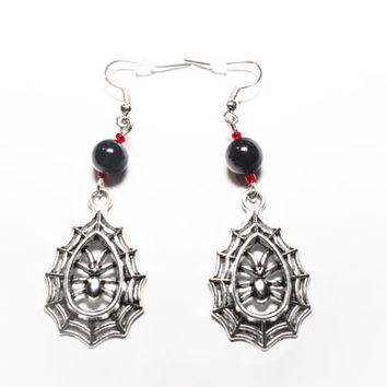 Black Widow Spider Web dangle earrings