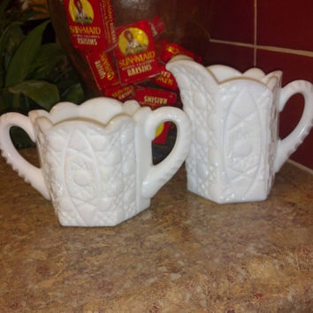 Imperial Milk Glass Cream and Sugar Set Nearcut Pattern