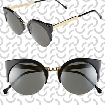 Women's SUPER by RETROSUPERFUTURE 52mm 'Lucia' Sunglasses - Black/ Gold