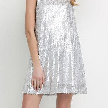 Silver Sequin 60's Style Shift Dress