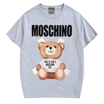 Moschino New fashion letter bear print couple top t-shirt Gray