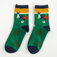 Green Print Socks for Women Autumn Winter Gift-10