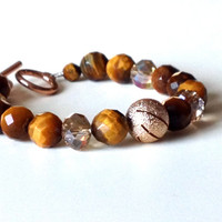 Tiger Eye, Gold and Crystal Bracelet