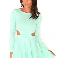 Missguided - Izani Cut Out Skater Dress In Mint