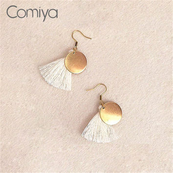 Round Metal Disc Thread Tassel Drop Earrings