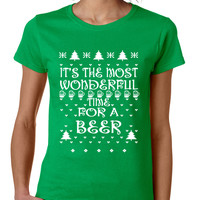 Women's T Shirt It's Most Wonderful Time for Beer Ugly Xmas Shirt