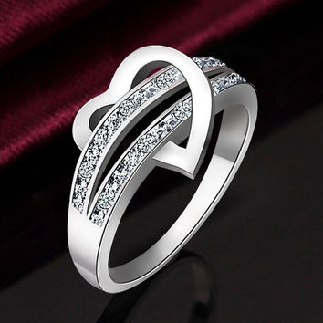 Hot stainless steel heart female wedding ring white gold filled CZ diamond sterling silver love ring women zircon ring size 4~12