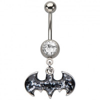 "Batman Symbol Glitter Dangle Belly Button Navel Ring [316L Stainless Steel - 14GA - 7/16""] (Color: Black) = 1927860612"