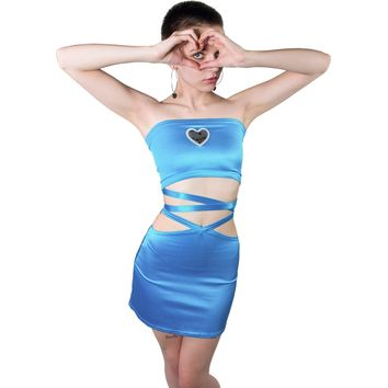 Double Cross Cerulean Blue Tube Top