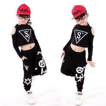 Children clothing set kids Black Jazz Hip Hop Modern Dancewear suit girls/boy Dance Clothes Long Sleeve Tops+ Pants 2pcs Sets