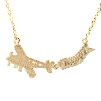 Handcrafted Brushed Metal Air Plane with Happy Banner Necklace