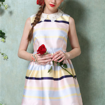 Lace Collar Striped Sleeveless Shirtwaist Pleated A-Line Mini Dress