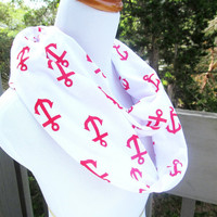 Summer Red Nautical Anchor infinite scarf- Soft Jersey knit