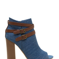 Vertical Integration Denim Booties