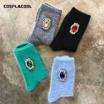 [COSPLACOOL]Warm Princess Gem/Bowknot/Art Flower Socks Women Candy Color Fashion Korean Harajuku Meias Creative Calcetines Mujer