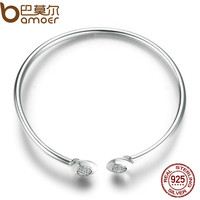 BAMOER Authentic 100% 925 Sterling Silver Chain Signature, Clear CZ Cuff Bangles Fashion Silver Jewelry PAS918