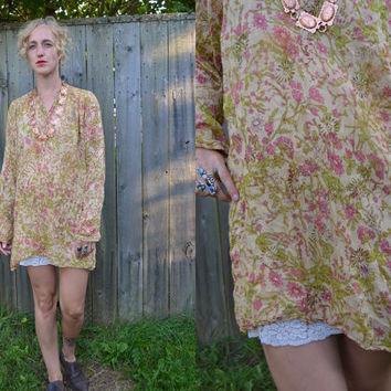 Vintage 70's Gauzy Eastern Indian Cotton Blouse Dress