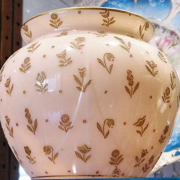 Cambridge Crown Tuscan Gold Encrusted Chintz Etch Pink Cambridge Glass Globe Vase Signed Tuscan Signature #3400 / 102 Rare Cambridge Vase