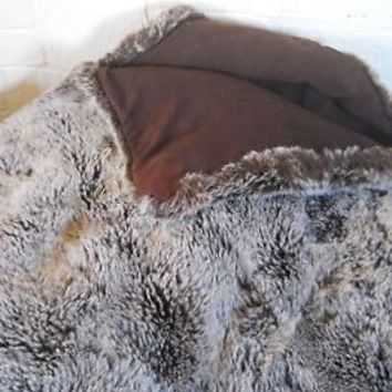Faux Fur Blanket Throw Bill Blass Brown Rustic