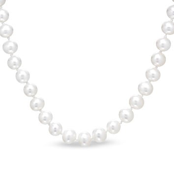 5.0-5.5mm Round Cultured Freshwater Pearl Necklace in 14K Gold