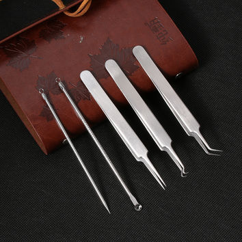 5Pc Stainless Steel Facial Blackhead Whitehead Extractor Set
