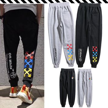 Tide brand OFF WHITE BLACK sports long pants men and women OW beam feet feet hip-hop loose casual pants