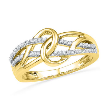 10kt Yellow Gold Womens Round Diamond Infinity Loop Knot Strand Ring 1/6 Cttw 101371
