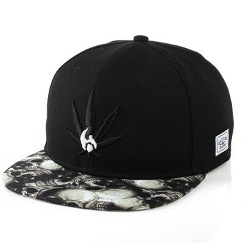Korean Ladies Skull Embroidery Leaf Hip-hop Baseball Cap Hats [4989703044]