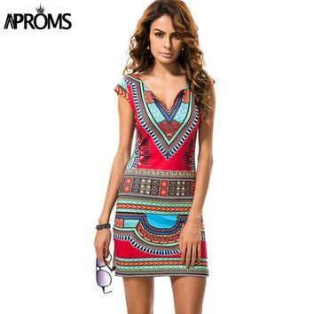 Aproms High Waist Dress Short V-neck African Dashiki Traditional Mini Dress