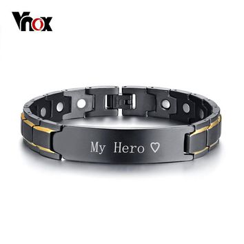 Vnox Personalized ID Jewelry Black Therapy Healing Magnetic Bracelets for Men Stainless Steel Power Bangle Father's Day Dad Gift