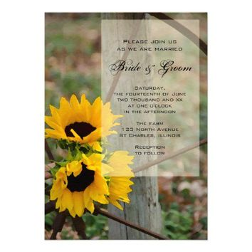 Sunflowers and Wagon Wheel Country Wedding Personalized Invite from Zazzle.com