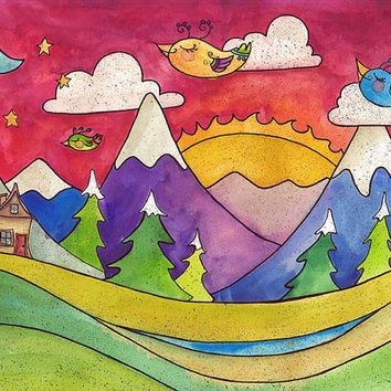 Colorful birds flying in the sky with green hills, purple mountains, log cabin fluffy white clouds 11x14 watercolor print with pen and ink