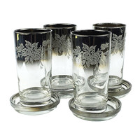 Silver Ombre Bar Glass Caddy Rose Embossed Barware Glass Coasters